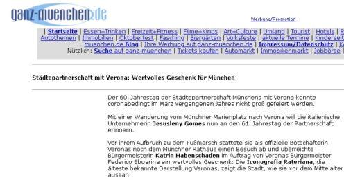 """Sito web """"ganz-muenchen"""" del 09-04-2021"""